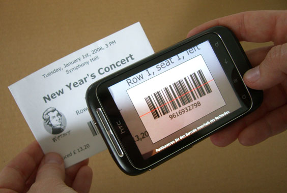 Cell Phone Camera scans barcode