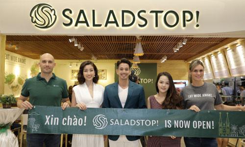 Hoa hau Do My Linh du su kien chuoi thuc an nhanh salad stop mo cua hang dau tien tai viet nam