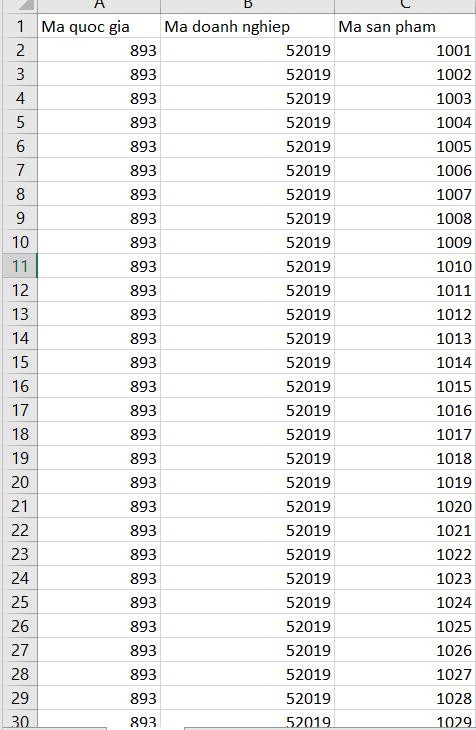 Tạo database mã vạch